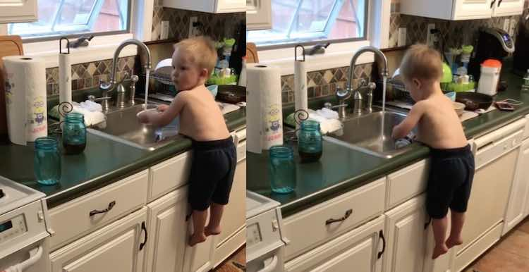 Toddler wows internet by washing dishes while belly balancing this talented little toddler is proving that you can never be too young to start cleaning up after yourself solutioingenieria Gallery