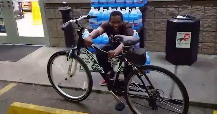 gas station attendant is giddy when surprised with new bike from regular customer
