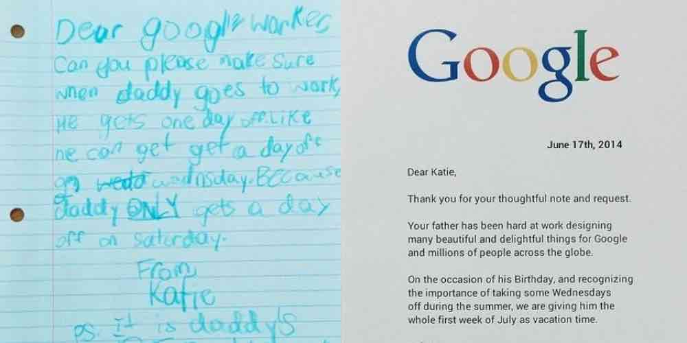 when girl asks for a day off for dad google gives her something better tbt