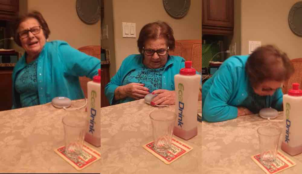 Grandmother's hilarious reaction to Google Home Mini