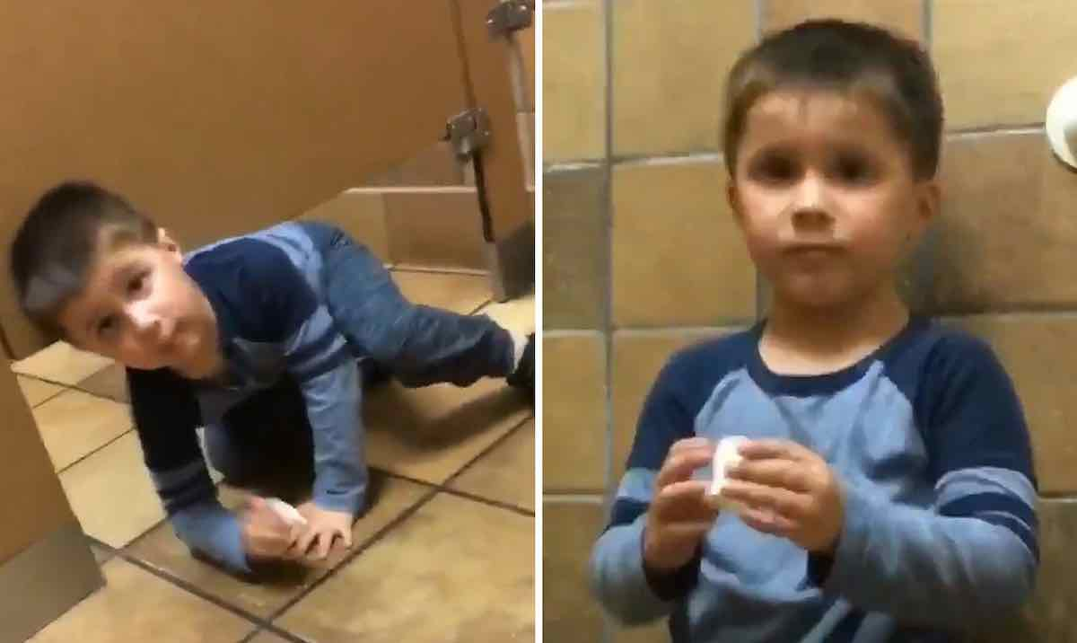 Hilarious Video Shows Boy Crawling Under Bathroom Stall To