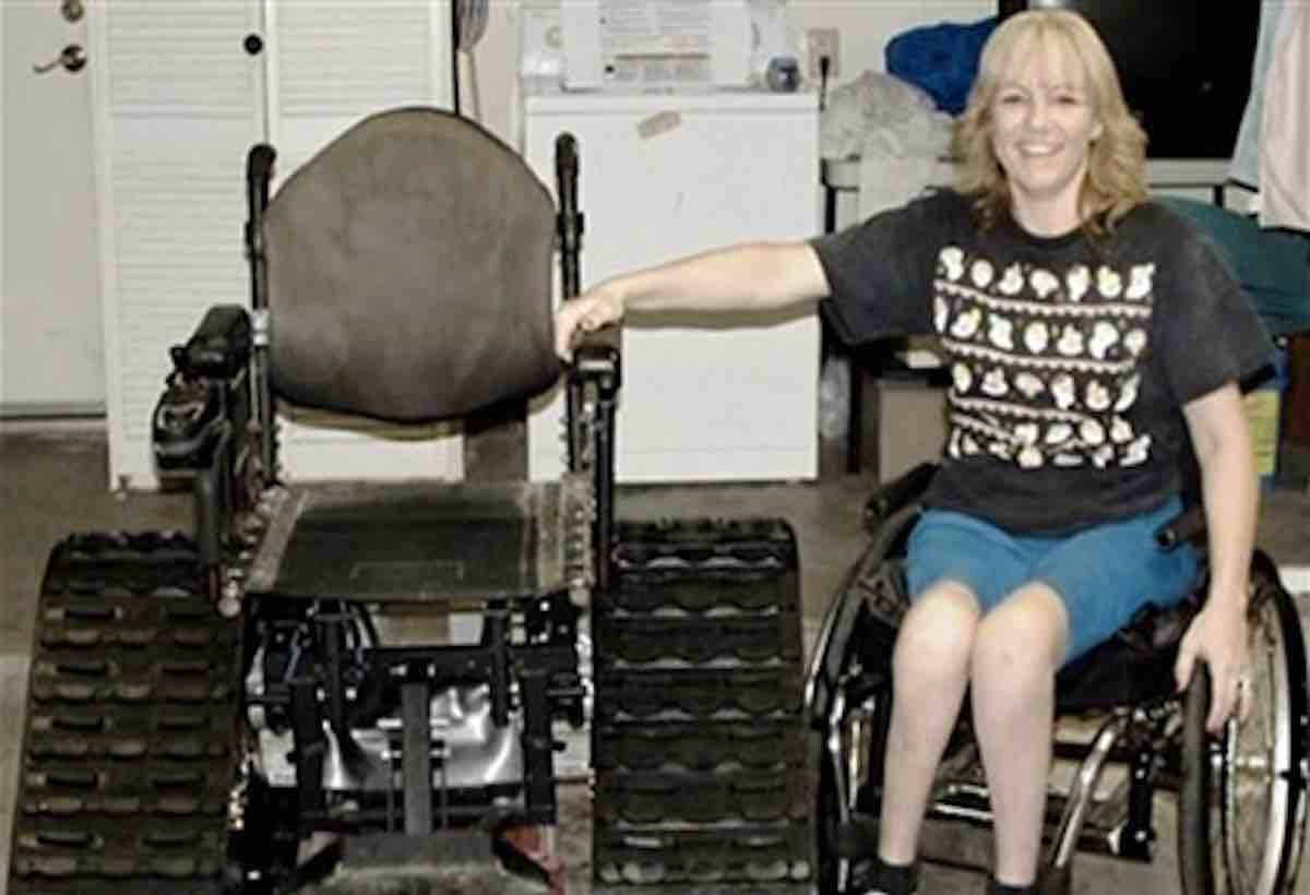 devoted husband designs tank wheelchair for wife so she won t miss