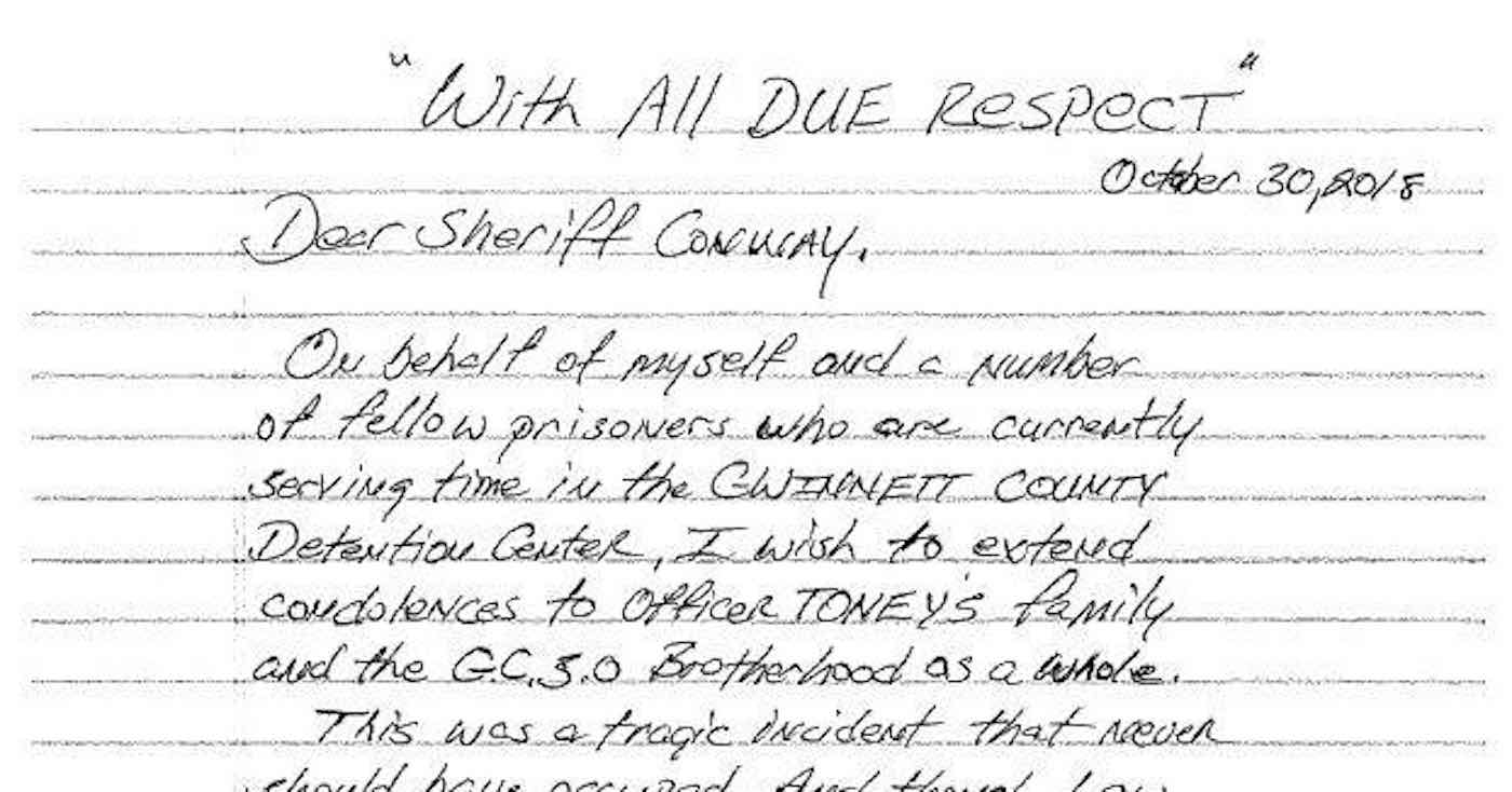 inmates write heartfelt letter to police department offering condolences for slain officer
