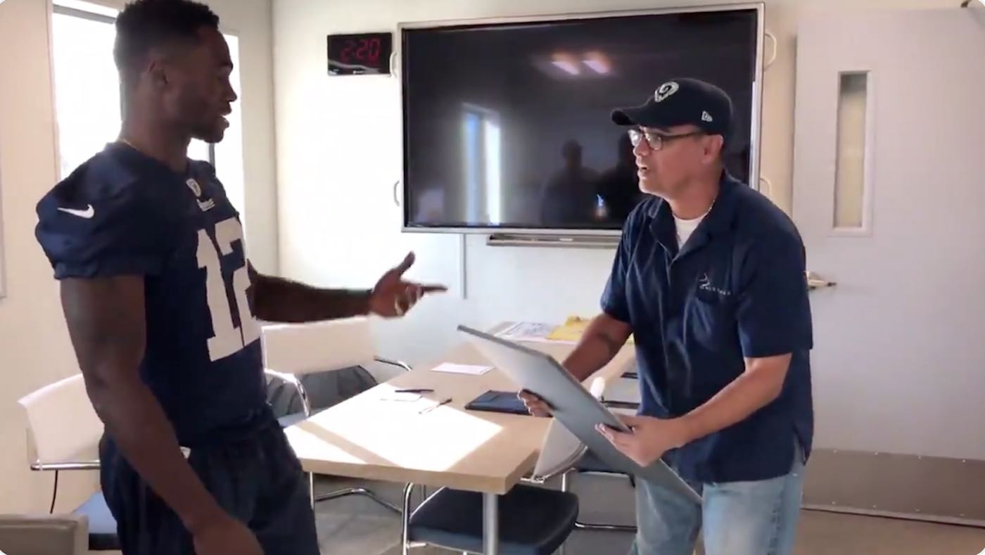 Watch Rams' Brandin Cooks surprise team custodian with Super Bowl tickets