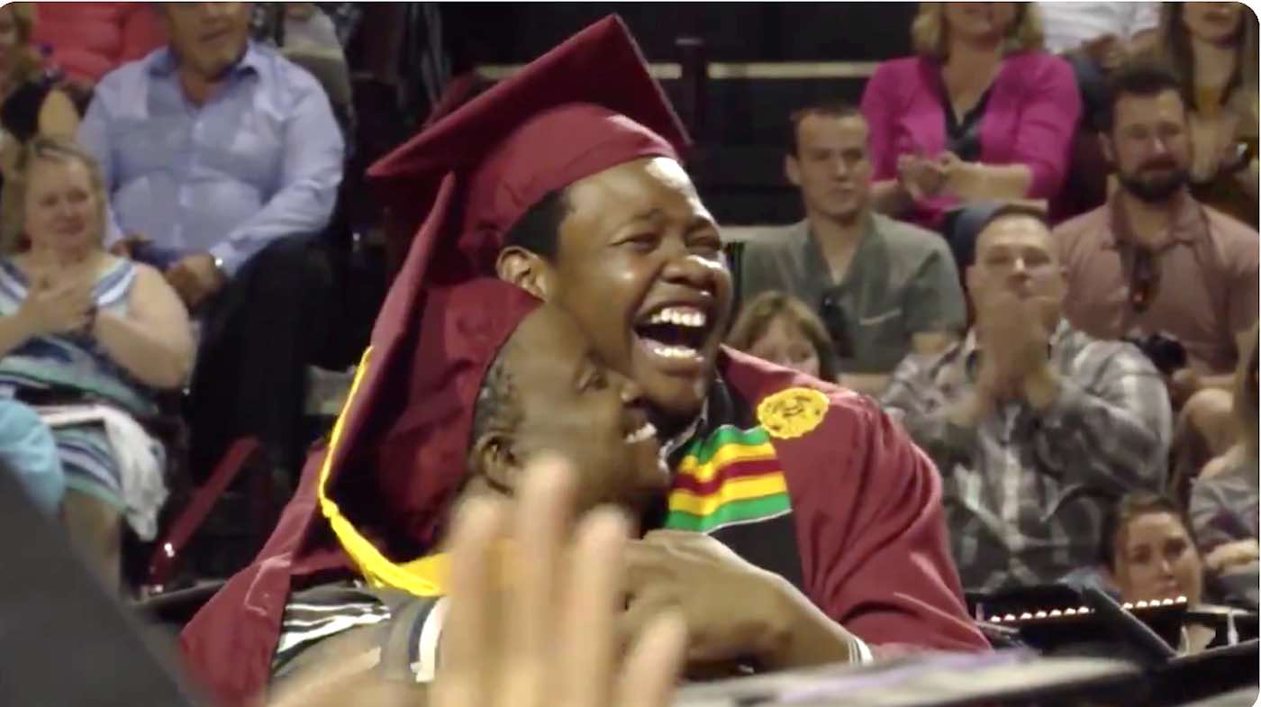 When Mom Skipped Her Commencement to Attend Her Son's, College Surprised Her With Degree (WATCH)