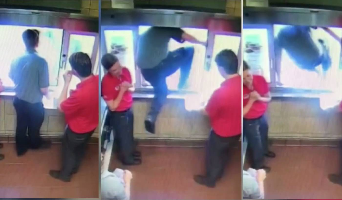 Watch Chick-Fil-A Worker Jump Out of Drive Thru Window to Free