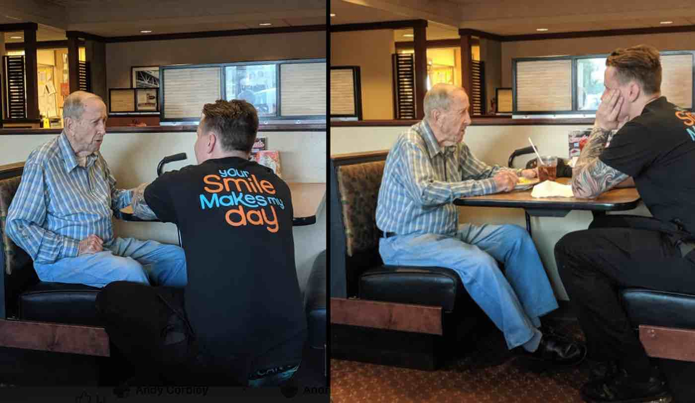 Hearts Are Melting Over Waiter's Compassion Towards 91-Year-old Dining Alone