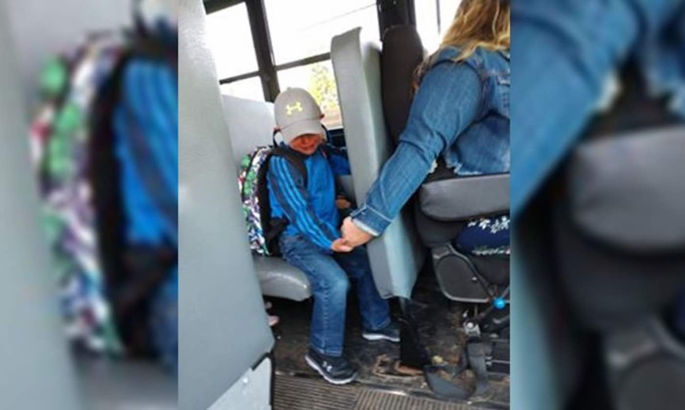 When Crying Student Boarded Bus for First Day of School, the Driver Held His Hand the Whole Way