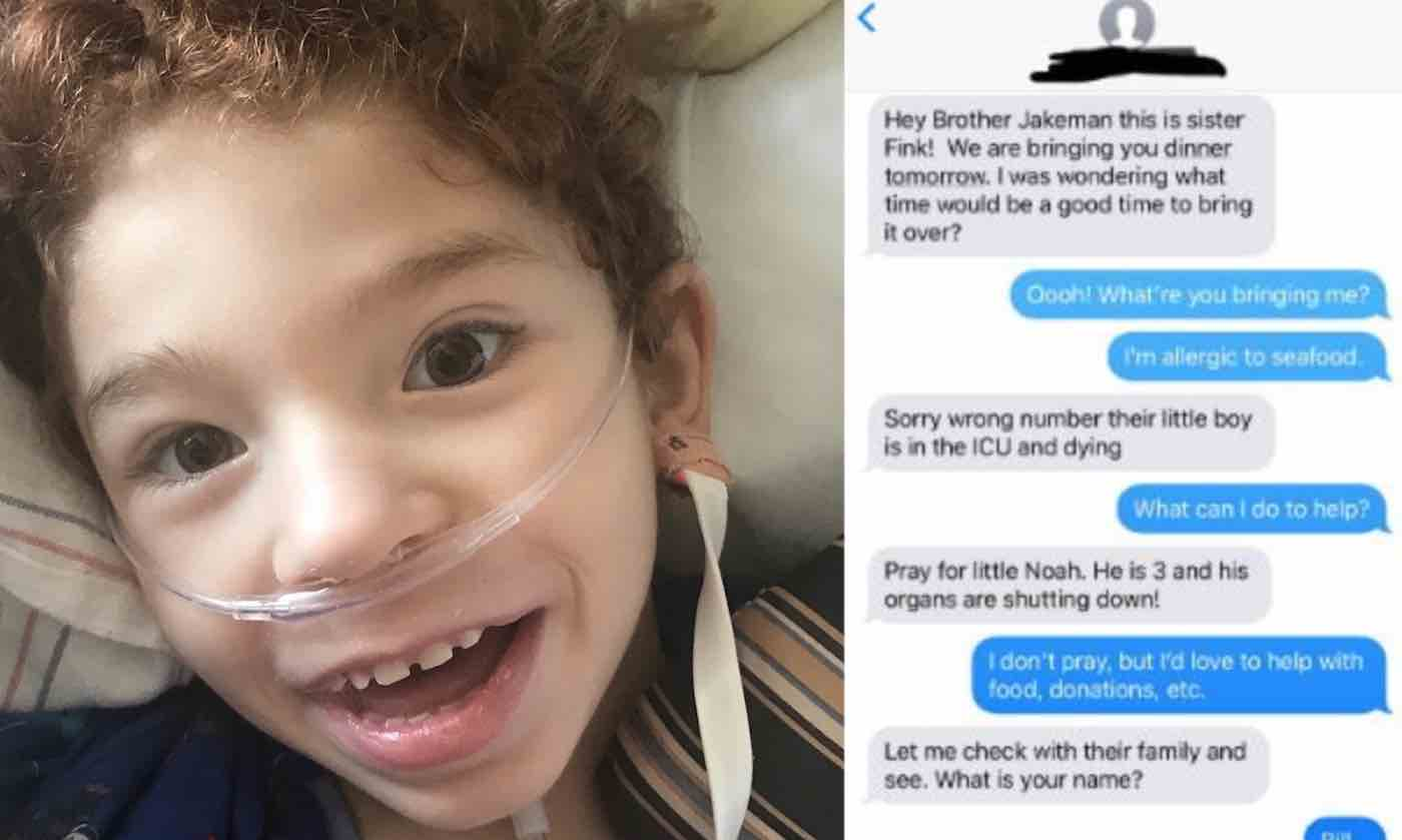 They Texted the Wrong Number, But it Inspired a Total Stranger to Collect Gifts for Boy in a Hospital