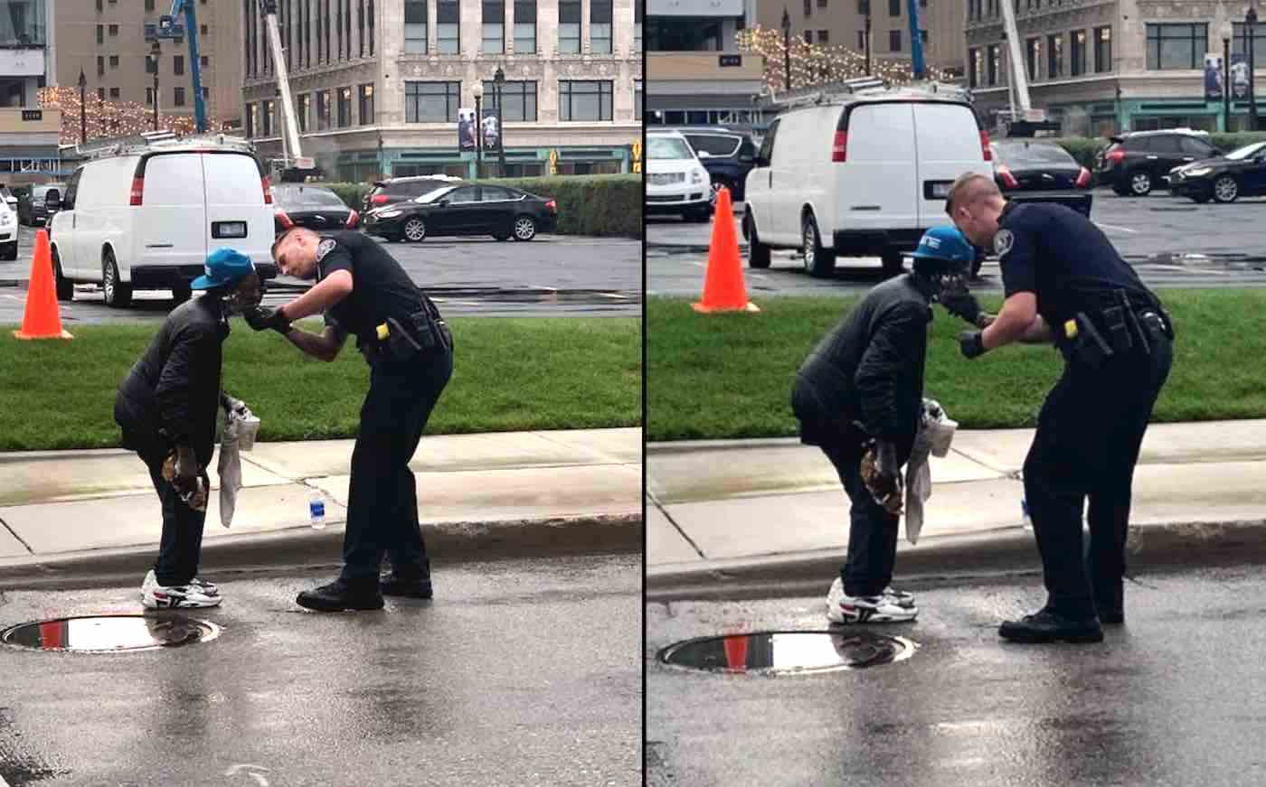 Police Officer Helps to Shave Homeless Man's Face in the Rain After Seeing Him Struggle Without a Mirror