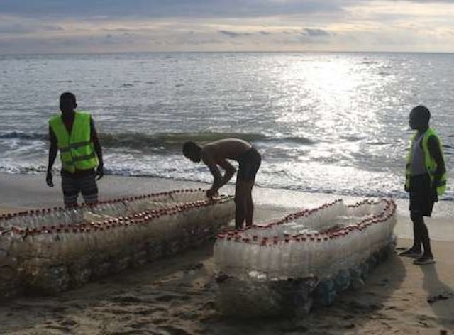 Cameroon Man Uses Wasted Plastic Bottles to Build Canoes for Fishermen in Need