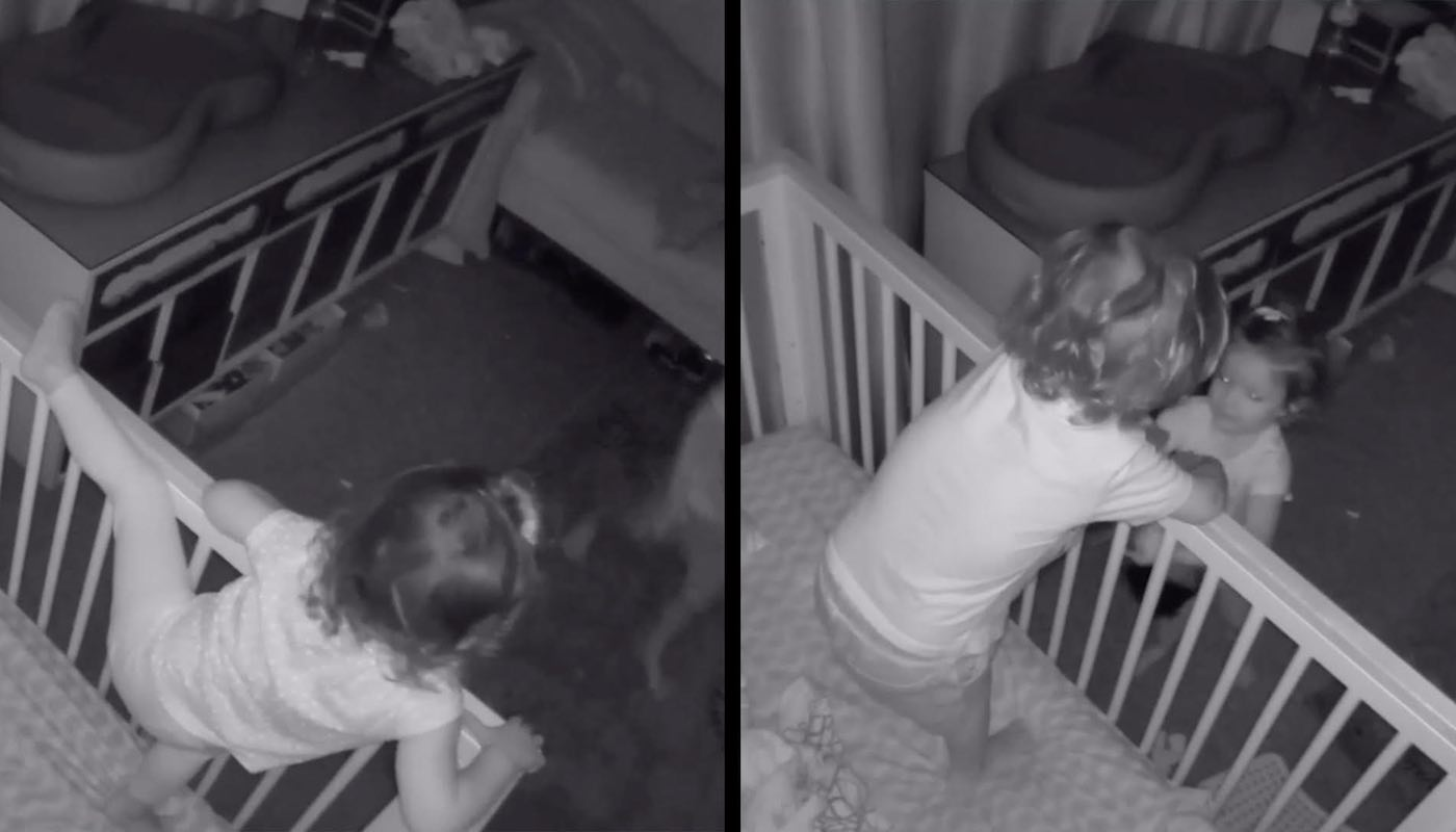 Watch Doting Small Child Help His Sister Escape From Crib So They Can Sleep Together