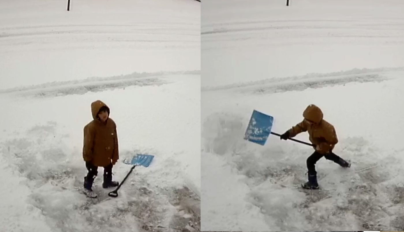 Boy's Comical Reaction to Shoveling Too Much Snow Might Be the Most Relatable Winter Video All Year