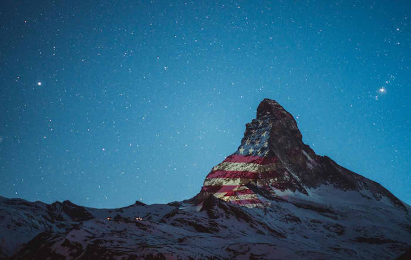 Artist Projects American Flag onto Swiss Alps: 'God Bless America'