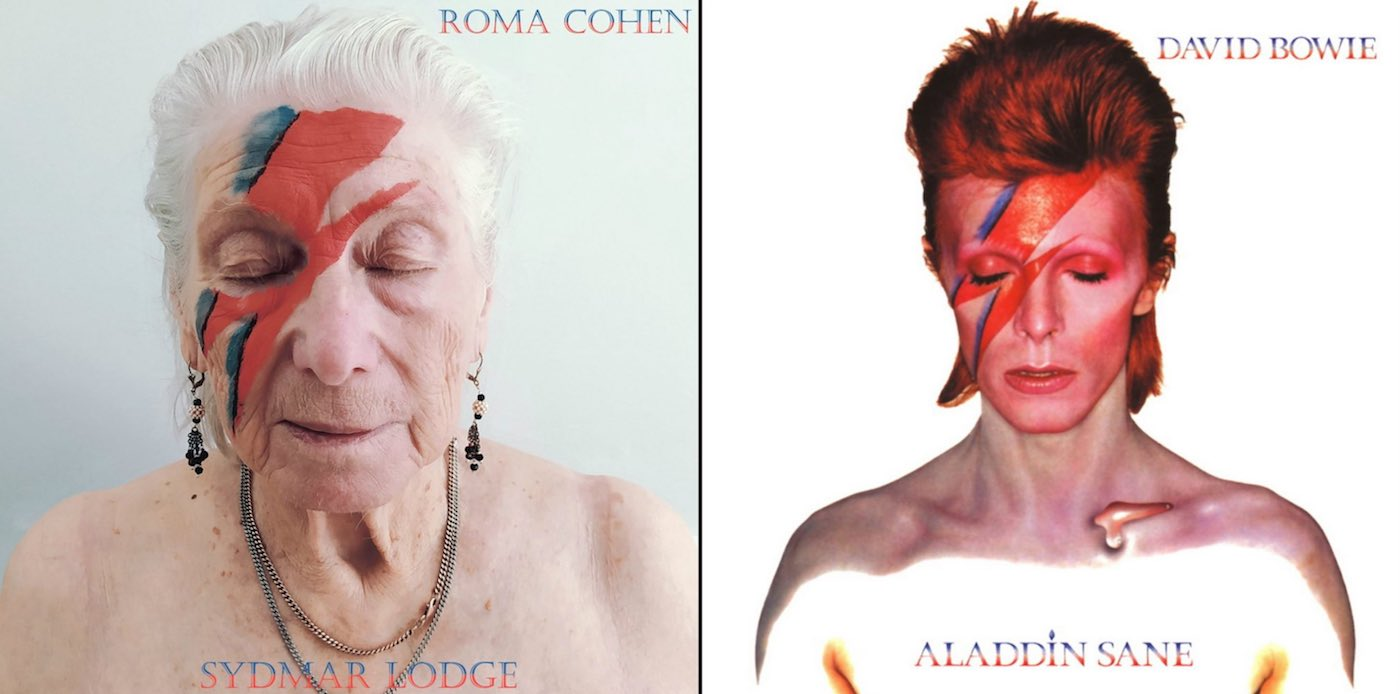 David Bowie Aladdin Sane recreated by care home
